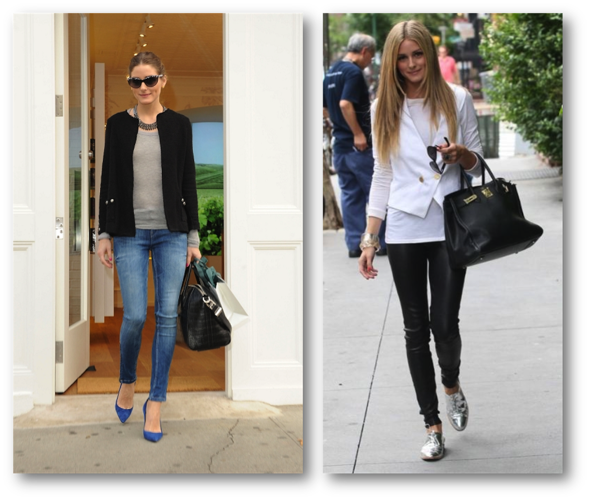 Olivia Palermo in jeans leather