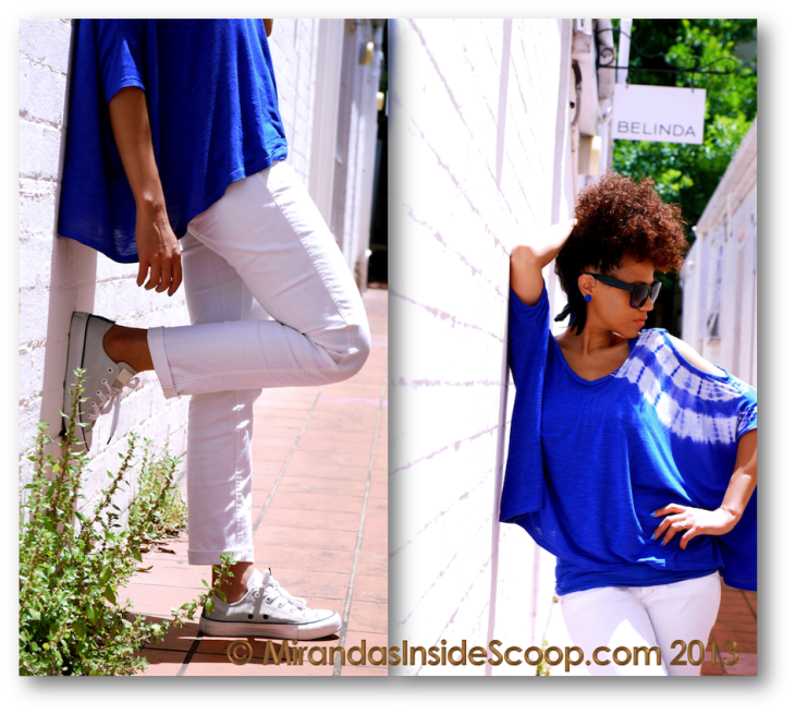 how to wear blue and white