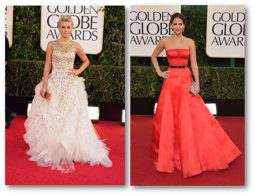 Julianne Hough golden globes, Jennifer Lawrence golden globes