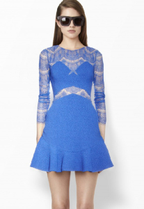 Blue Contrast Lace Long Sleeve Ruffle Dress
