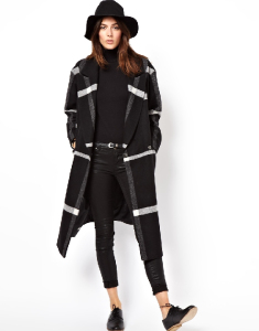 SOS Mono Check Longline Wrap Coat