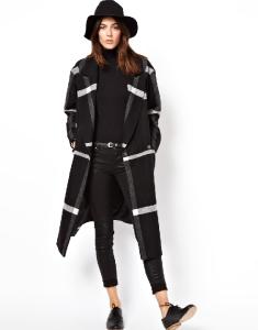 SOS Mono Check Longline Wrap Coat