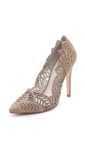 Alice + Olivia Dina Laser Cut Pumps - Natural