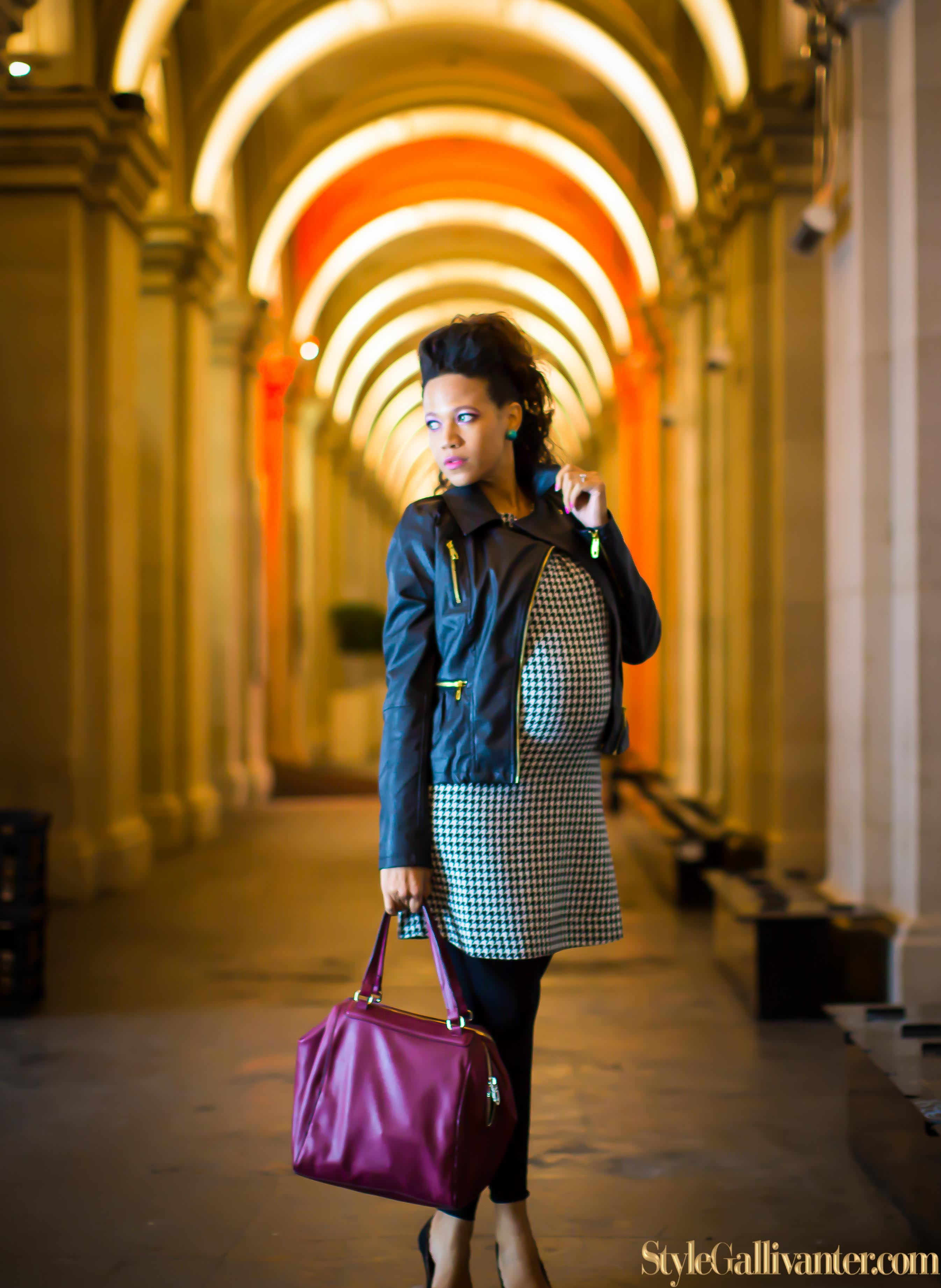 top-melbourne-fashion-blogs_pink-lipstick_model-who-blog, houndstooth-dress_what-is-houndstooth_stylish-pregnant-women-15